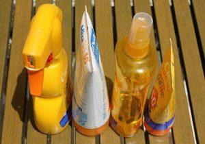 Four bottles of sunscreen