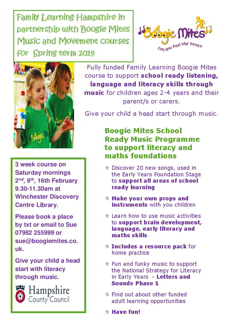 Fully funded Family Learning Boogie Mites course to support school ready listening, language and literacy skills through music.